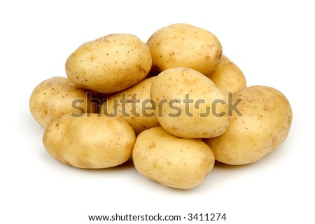 bunch of potatoes on white background close up shoot