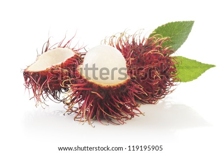Bunch of rambutan with leaves  isolated on white background