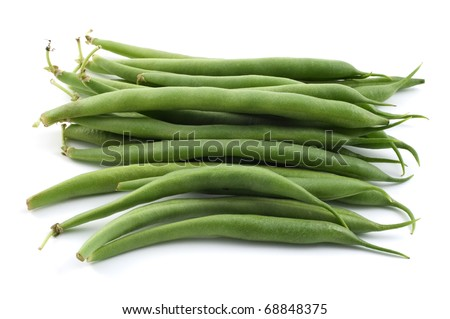 Bunch of raw bush beans isolated on white background