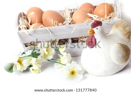 Bunch of raw eggs and chicken in a basket