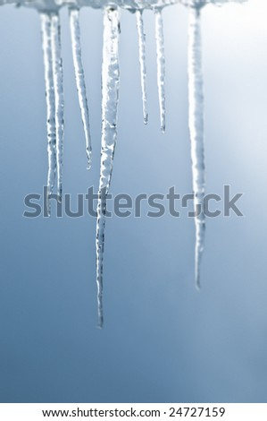 Bunch of real icicle in close focus