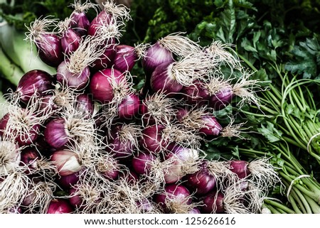 Bunch of red fresh onions on a local market