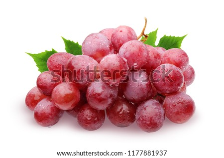 Bunch of red grapes with water drops with leaves, isolated on white background with shadow. #1177881937