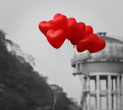 Bunch Of Red Heart Shaped Balloons. Selective Focus is used.