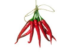 bunch of red hot chili pepper isolated on white.
