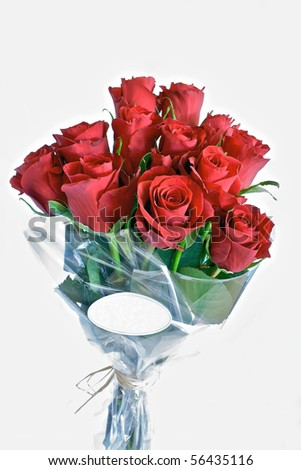 Bunch of red roses with label for text