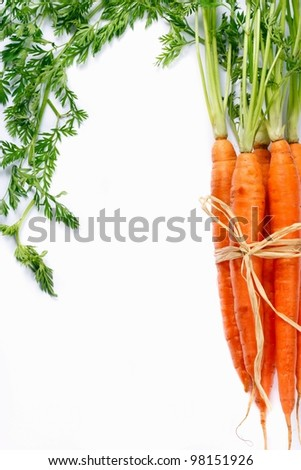 Bunch of ripe carrots on a white background.