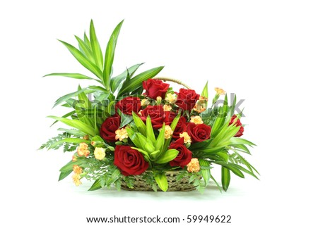 Bunch of rose flowes in a basket