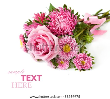 Bunch of roses and asters isolated on white with sample text