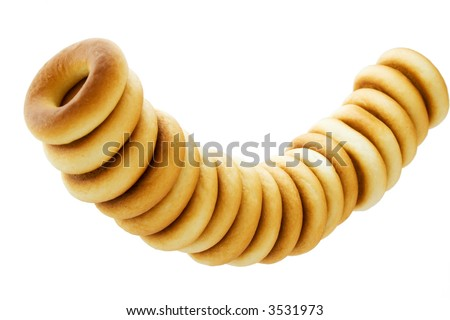 bunch of rubicund bagels isolated on white