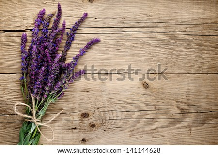 Bunch of salvia on wooden background