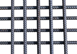 Bunch of several reinforcement bars isolated on white background