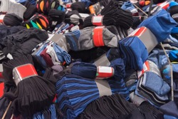Bunch of socks at a discount.Black friday in clothing store.