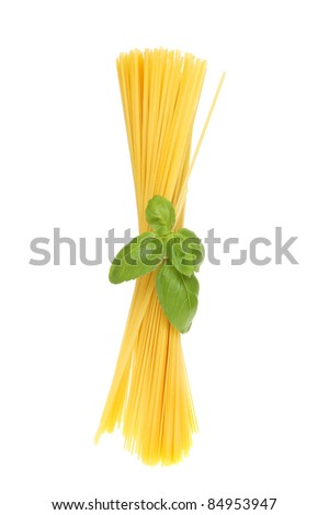 Bunch of spaghetti tied with a sprig of fresh basil isolated against white