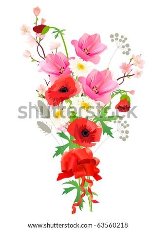 bunch of summer flowers raster