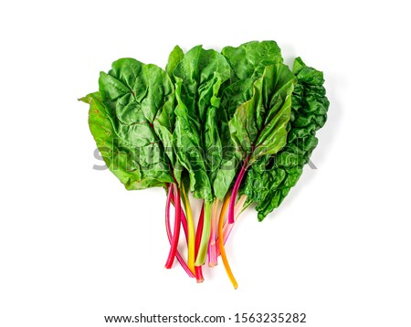 Bunch of swiss chard leafves isolated on white background. Fresh swiss rainbow chard with yellow, red and green colors, top view or flat lay