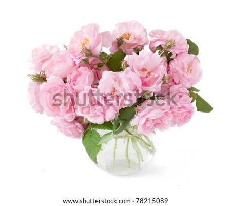 Bunch of tea roses in vase isolated on white