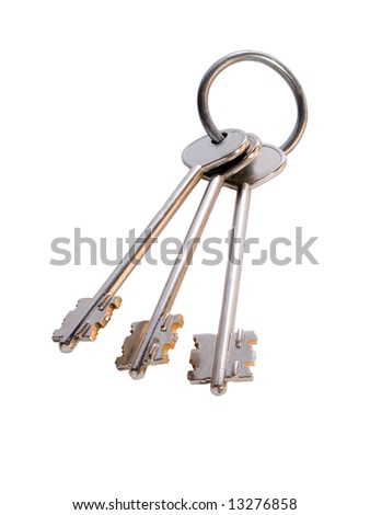 bunch of three keys on the ring isolated on white