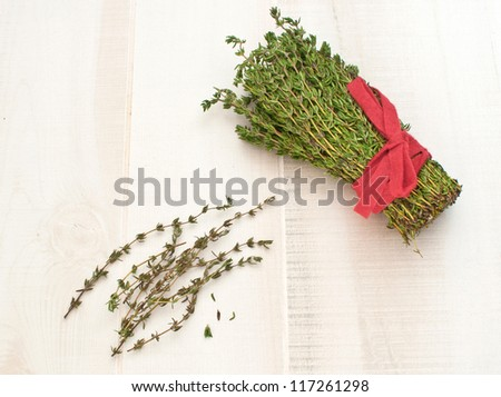Bunch of thyme herbs horizontal