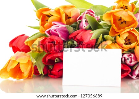 Bunch of tulips with card