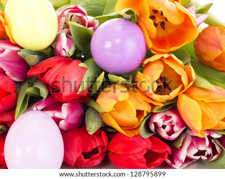 Bunch of tulips with easter eggs