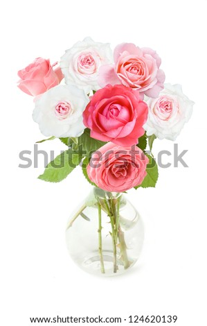 Bunch of white and pink roses in vase isolated on white
