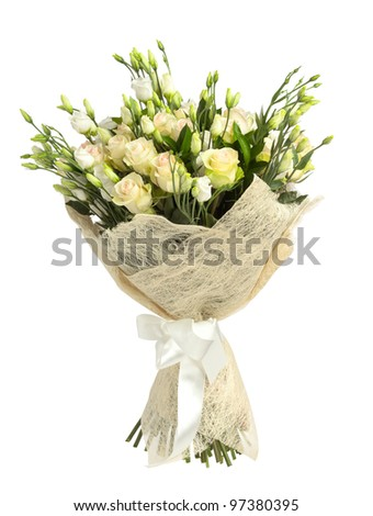 Bunch of white and tea roses isolated on white