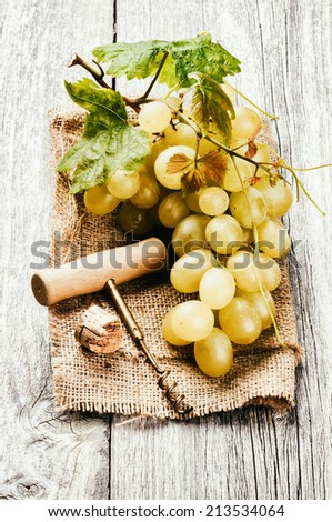 Bunch of white grape in rustic setting. Wine making concept