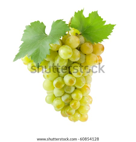 Bunch of white grapes with green leaves. Isolated on white background.