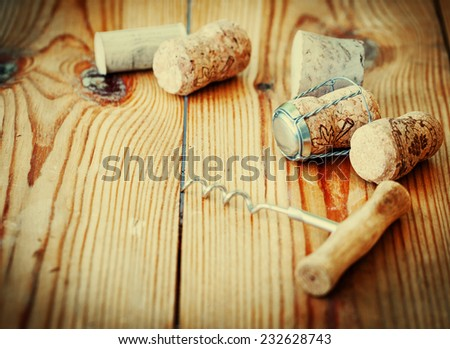 Bunch of wine corks on wooden table #232628743