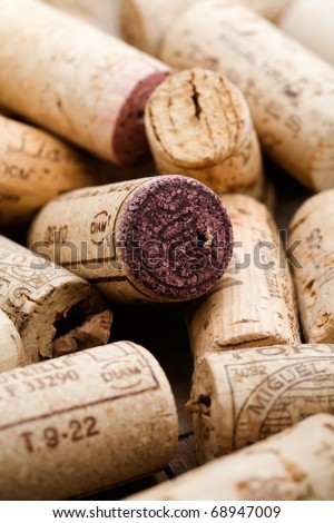Bunch of wine corks on wooden table