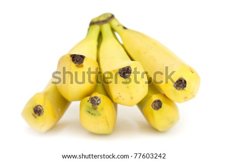 Bunch of yellow bananas on white background