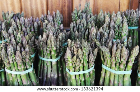 Bunches of asparagus bound with rubber bands