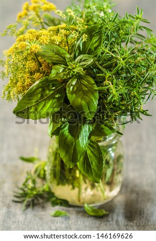 Bunches of assorted fresh herbs close up