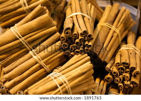 Bunches of cinnamon at the Egyptian Market in Istanbul, Turkey