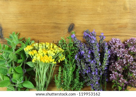 Bunches of fresh herbs on wooden background