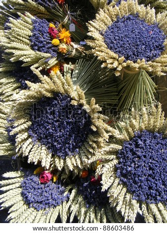 Bunches of lavenders, street market in Salles-sur-Verdon, Provence, France