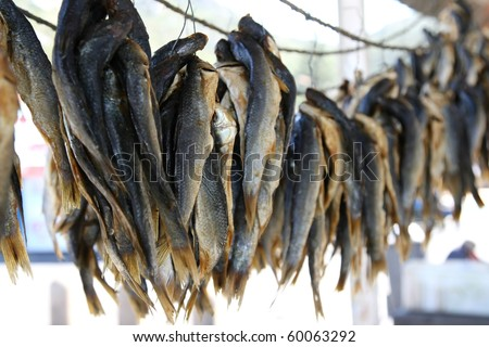 Bunches of mullet fish drying natuarly before been sold to for Eating mullet fish