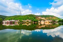 Bundi town and Nawal Sagar lake panoramic view in Rajasthan state in India