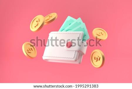 Bundle of cash wallet and floating coins. money-saving, cashless society concept. 3d render illustration. Bright pink background.