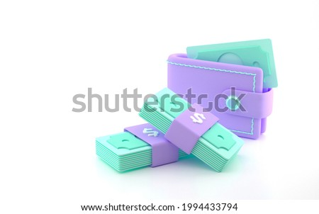 Bundle of cash wallet and money stack. money-saving, cashless society concept. 3d render illustration