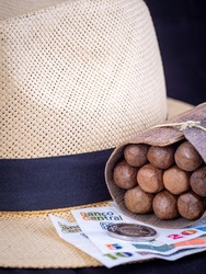 Bundle of Cuban cigars wrapped in palm leaves and resting on a Panama hat behind Cuban currency in close up