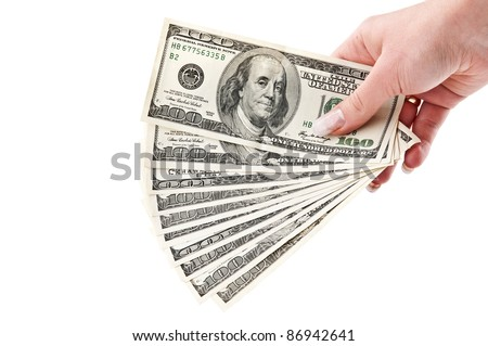 bundle of dollars isolated on a white background
