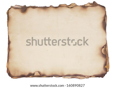 Bundle of several weathered, old papers with fire damaged and burned edges. Isolated on white.
