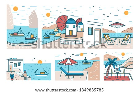 Bundle of summer sceneries with sea or ocean, mountains, sailing boats and seaside resort. Set of beautiful touristic landscapes or seascapes. Colorful  illustration in modern line art style