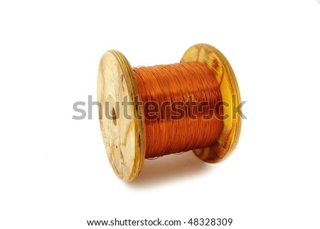 Bundle of thin cooper wire isolated on white