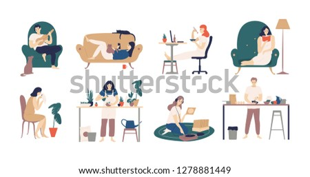 Bundle of young men and women spending weekend at home - playing guitar, eating sushi, reading books, surfing internet, listening to music, cooking. Colored illustration in flat cartoon style