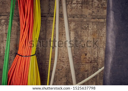 Bundles of network cables with cable ties #1525637798