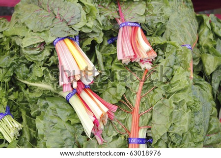 Bundles of swiss chard in red, orange, yellow, white, green stalks on display at a market.
