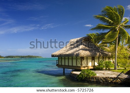 Bungalow on tropical island of Moorea
